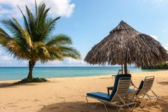 Sunbed和伞在一个热带海滩 库存图片