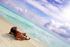sunbed热带 免版税库存图片