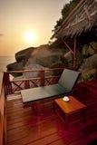 Sunbed auf einer Terrasse Stockfoto