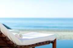 Sunbed on a beach Royalty Free Stock Photos