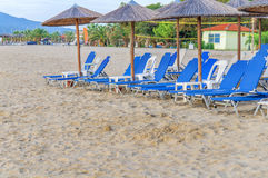 Sunbed on beach background. Close Royalty Free Stock Photos