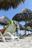 Lounge chair on the beach, Cuba, Varadero Stock Photos