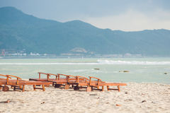 Sunbed on the beach - nature vacation background Stock Photography