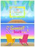 Sunbed on Beach Pair of Chaise-Lounges Coastline. Hot summer days, sunset beach party, sunbed on beach pair of chaise-lounges on coastline vector illustration of royalty free illustration