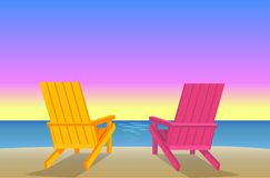 Sunbed on Beach Pair of Chaise-Lounges Coastline. Sunbed on beach pair of chaise-lounges at coastline vector illustration, two wooden recliners, sandy shore near vector illustration