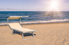 Sunbed at the beach - Rimini summer, Italy Royalty Free Stock Photos