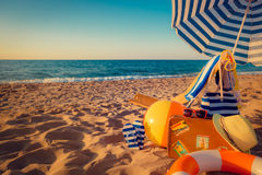 Sunbed on the beach Royalty Free Stock Photography