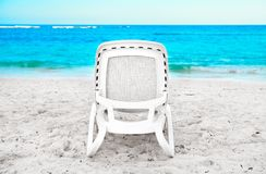 Sunbed on the beach Stock Photography