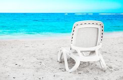 Sunbed on the beach Royalty Free Stock Photos