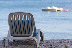 Sunbed on the beach. Sunbed on a tropical beach. Summer Vacation Royalty Free Stock Images