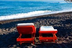 Sunbed on the beach Stock Photos
