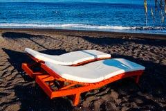 Sunbed on the beach Stock Photo
