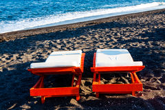 Sunbed on the beach Royalty Free Stock Image