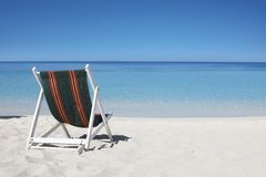 Sunbed on the caribbean beach stock photo