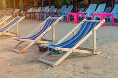 Sunbed or chair on the tropical beach Royalty Free Stock Photos