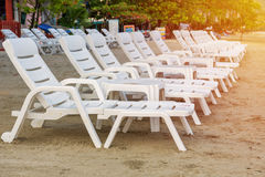 Sunbed or chair on the tropical beach Stock Image