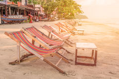Sunbed or chair on the tropical beach Royalty Free Stock Photography