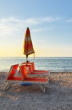 Sunbed. On the foreshore at sunset Royalty Free Stock Photos