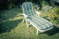 Sunbed in the garden during summer. Colourful sunbed in the garden during summer Stock Photography