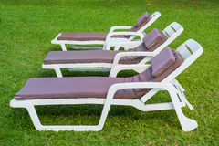 The sunbed on the green grass Stock Photo