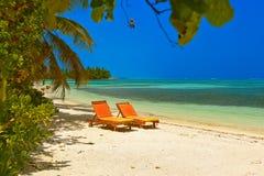 Sunbed on Maldives beach Royalty Free Stock Photo