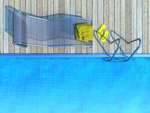 Sunbed mit gelbem Tuch und Flipflops neben Swimmingpool Stockfotos