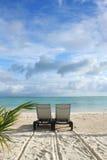 Sunbed na plaży Fotografia Stock