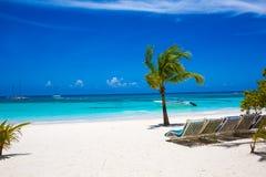 Sunbed op actueel strand, Ligstoelen op zand Royalty-vrije Stock Foto
