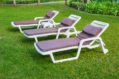 Sunbed op het groene gras Stock Foto