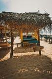 Sunbed op het strand Royalty-vrije Stock Foto's