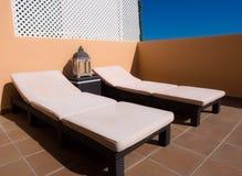 Sunbed recliner hemel Royalty-vrije Stock Afbeeldingen