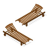 Sunbed for relaxing and sunbathing. Wooden beach bench. Royalty Free Stock Image