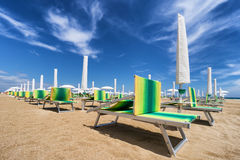 Sunbed on riviera romagnola Stock Images