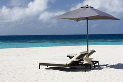 Sunbed on the sandy beach royalty free stock image