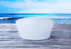 sunbed on a sea background Royalty Free Stock Images