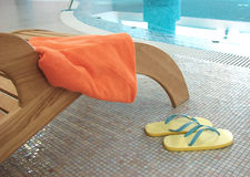 Sunbed with towel from behind Stock Photos