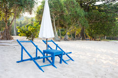 Sunbed and umbrella Royalty Free Stock Image
