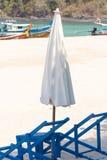 Sunbed and umbrella Stock Photo