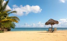 Sunbed und Regenschirm auf einem tropischen Strand Stockfoto