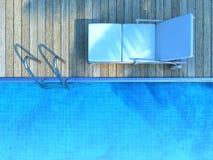Sunbed w palmowym cieniu obok pływackiego basenu Zdjęcia Royalty Free