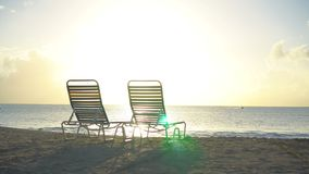 Chaise-longues on white tropical caribbean beach. Sunbed on white tropical caribbean beach stock video