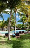 sunbeds бассеина гостиницы роскошные плавая Стоковое Изображение RF