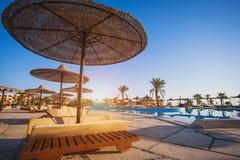 Sunbeds бассейном курорта Стоковые Фото
