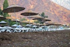 Sunbeds с зонтиками на пляже в красивой природе Стоковые Изображения