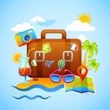 海滩概念sunbeds旅游业假期 免版税库存图片