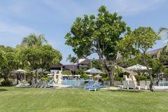 库塔海滩棕榈外套、豪华旅游胜地有游泳池的和sunbeds 巴厘岛印度尼西亚 免版税库存图片