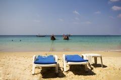 Sunbeds on Banana beach, Phuket Stock Photo