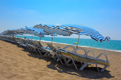 Sunbeds on the beach Stock Photo