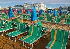 Sunbeds on the Beach. Cattolica, Italy stock image