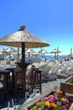 Sunbeds on beach Royalty Free Stock Image